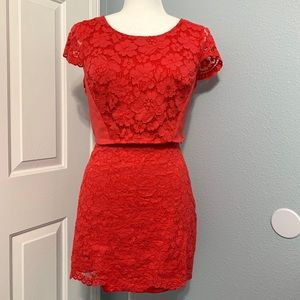 BEBE Coral Lace Open Back Crop Top